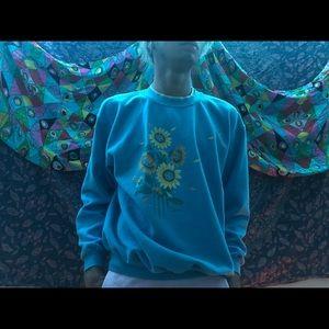 Vintage Sunflower Crew Neck Sweater